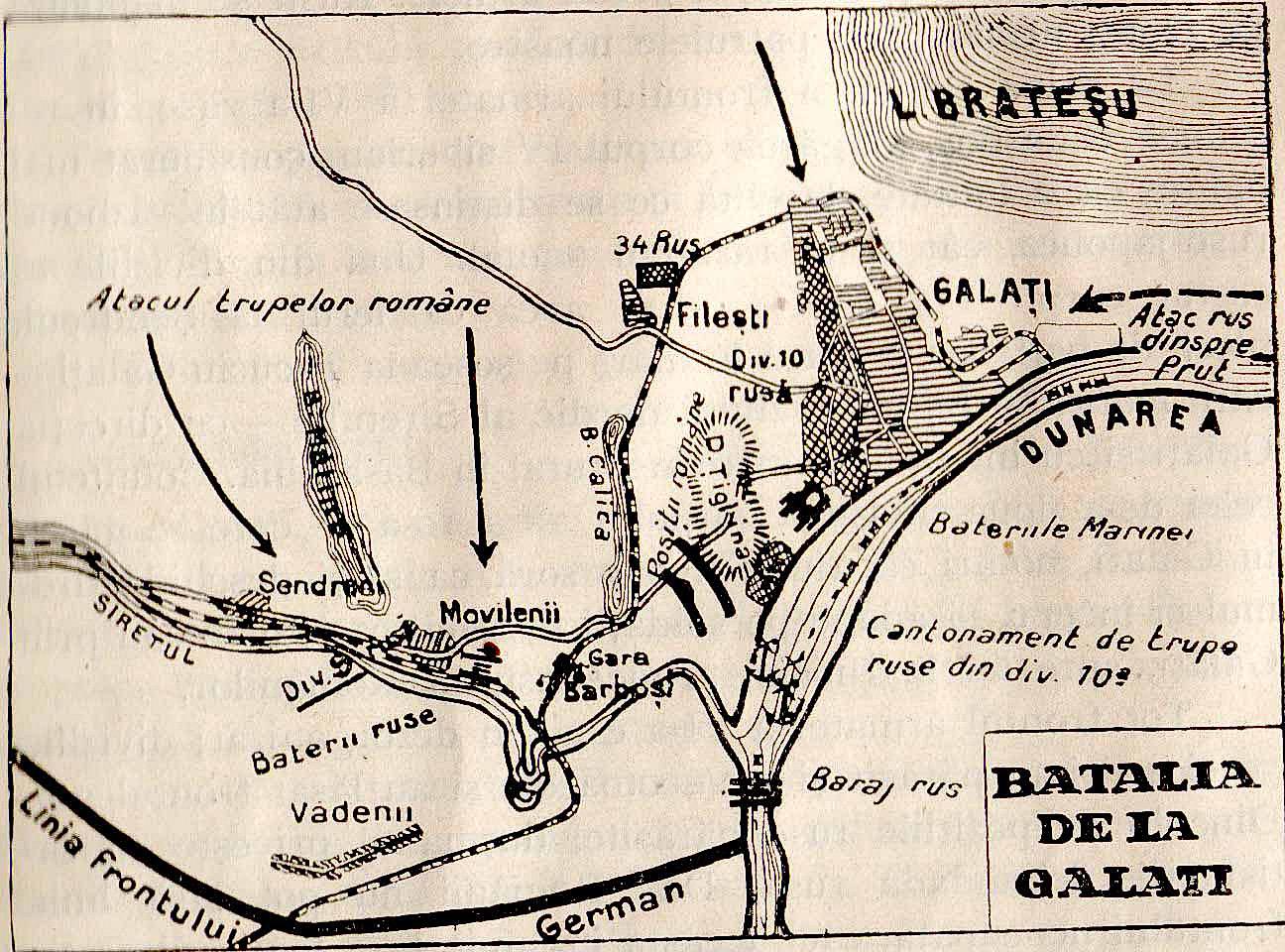 Harta bataliei de la Galati din anul 1918