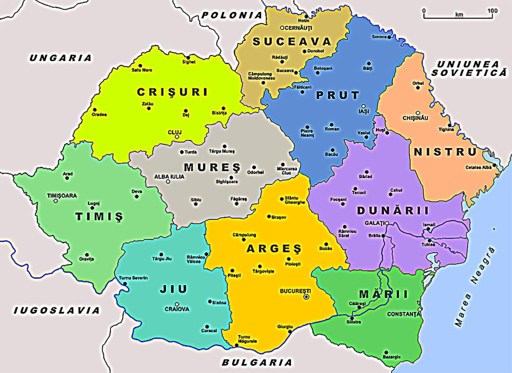 Harta Tinuturilor din România - anul 1938, luna august