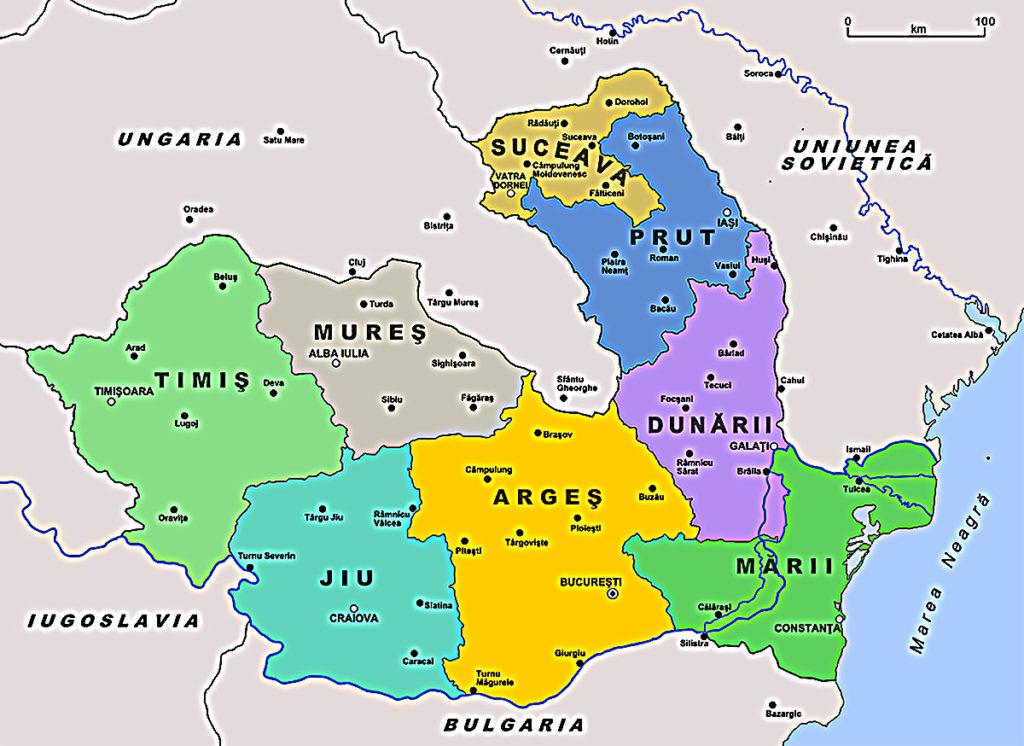 Harta Tinuturilor din România - anul 1940, luna septembrie
